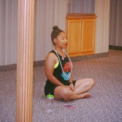 Getting centered at    Community Hip Hop Yoga