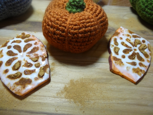 Pumpkin Spice Superfood Sweet Potato Toast pictured with my handmade crochet pumpkins