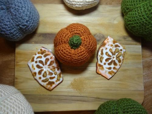 Pumpkin Spice Superfood Sweet Potato Toast pictured with my handmade crochet pumpkin
