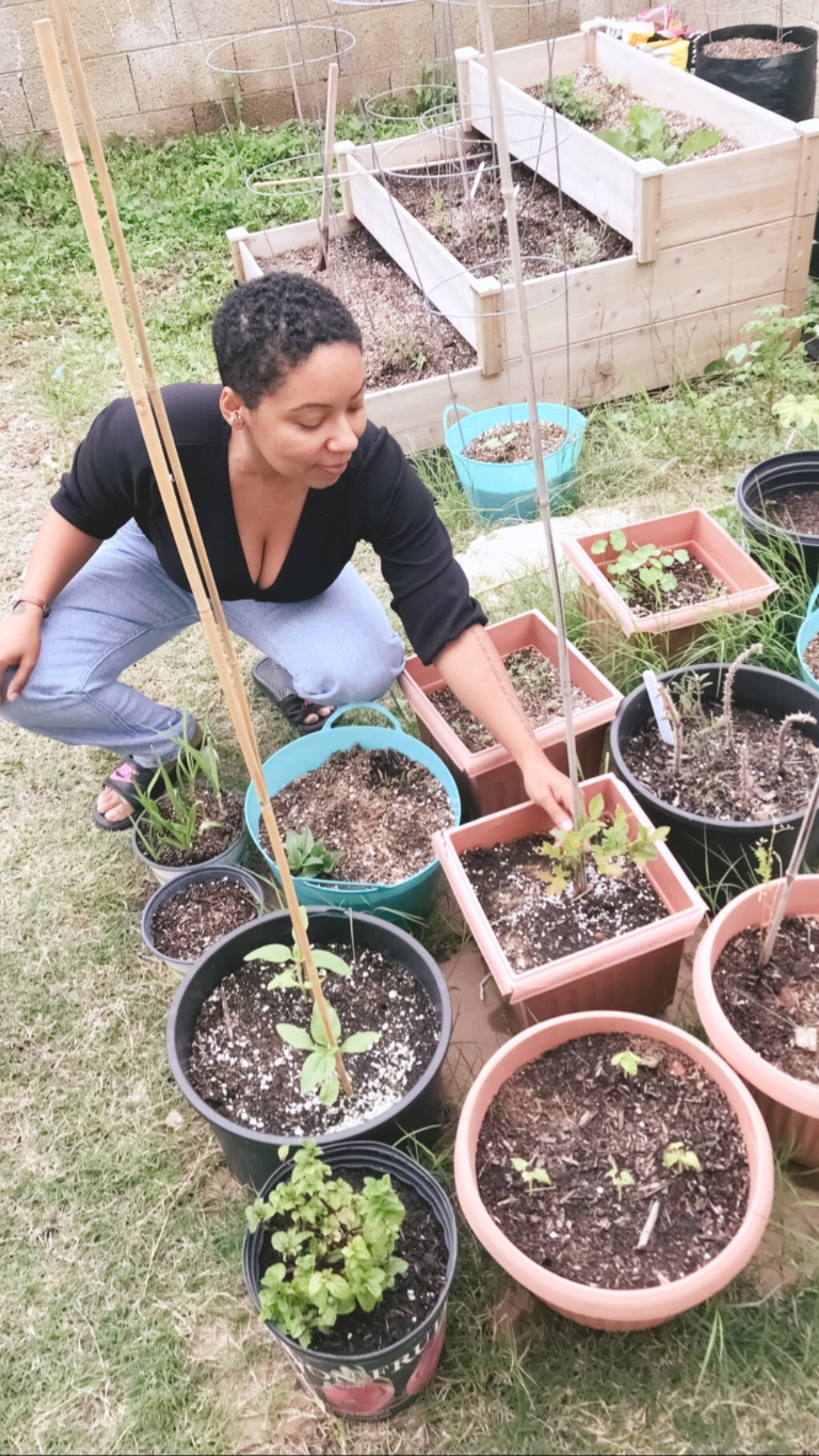 Container Gardening makes small-scale #urbanhomesteading possible with my conditions and assistance from my family! Photo Credit: My Son