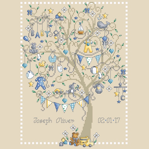 Designed by Shannon Christine Counted Cross Stitch ChartPattern -- Baby Boy Tree
