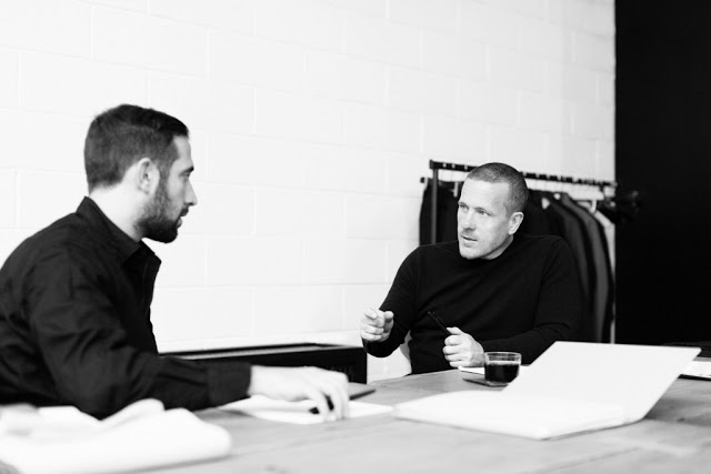 Guido Biondi (left), Creative Director of Roy Roger's, and Scott Schuman during design meetings.