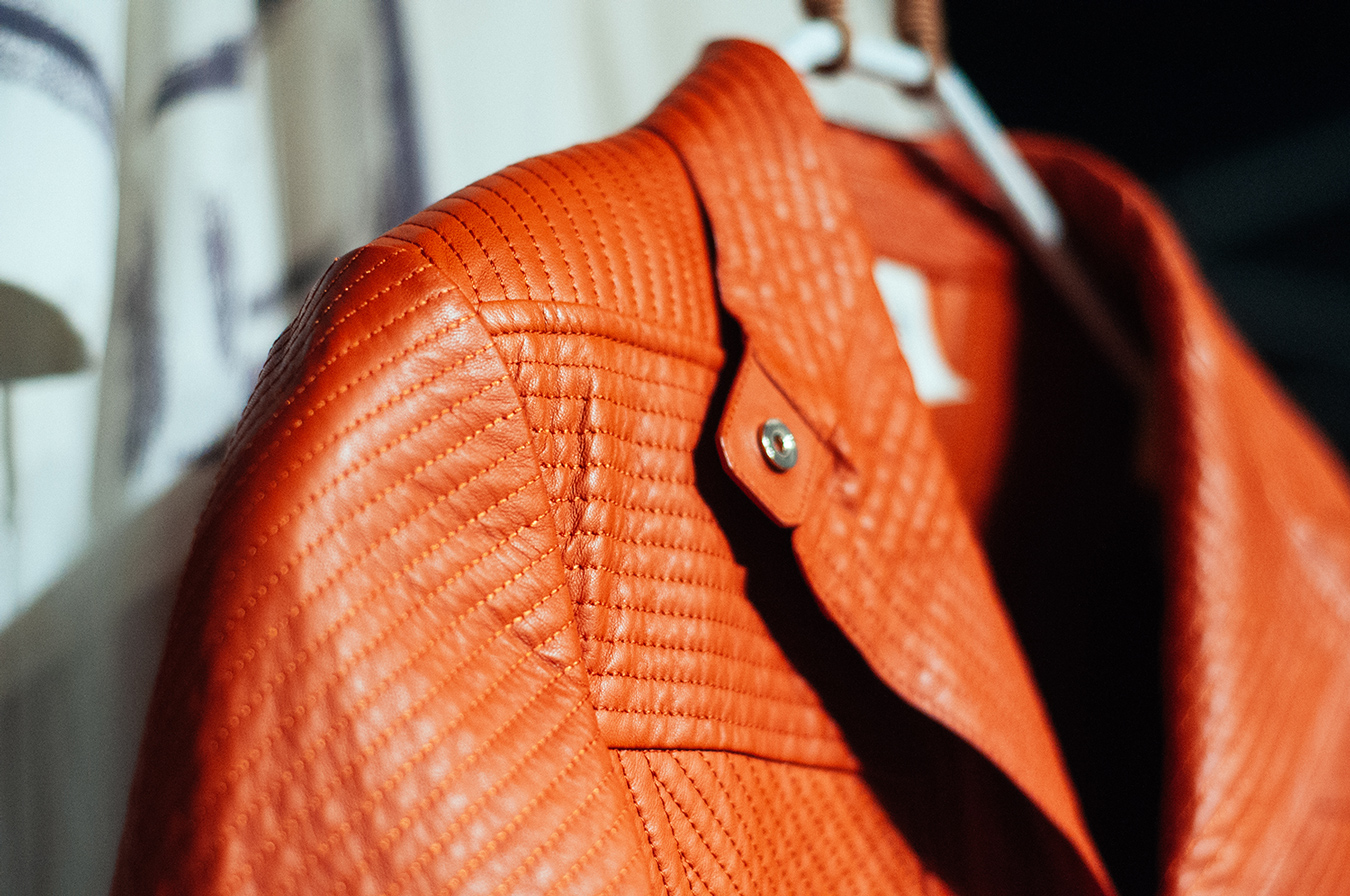 Details from a backstitched lambskin women's jacket.