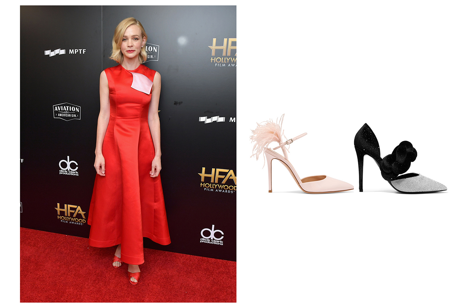 Right:100 feather-trimmed patent-leather Gianvito Rossi pumps. Left:Braided glittered velvet and crystal-embellished leather Gianvito Rossi pumps.