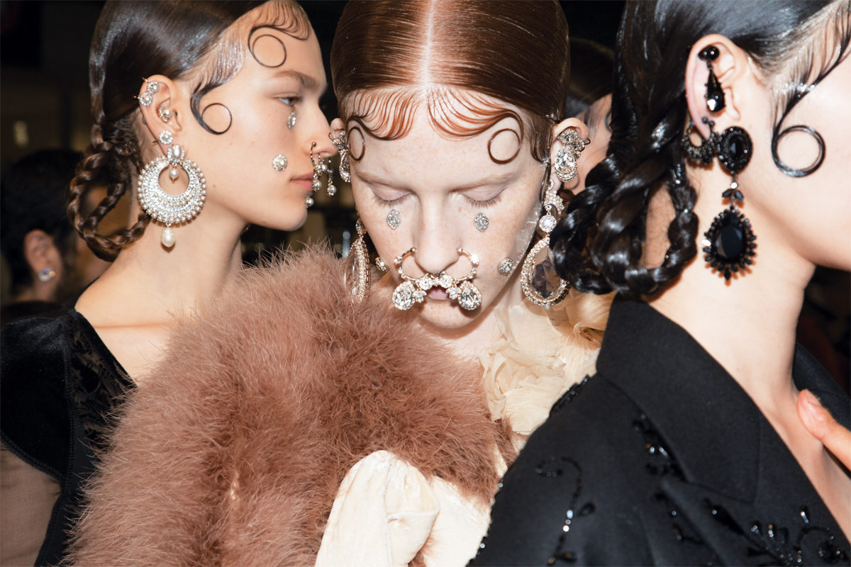 Backstage at one of Riccardo's shows for Givenchy.
