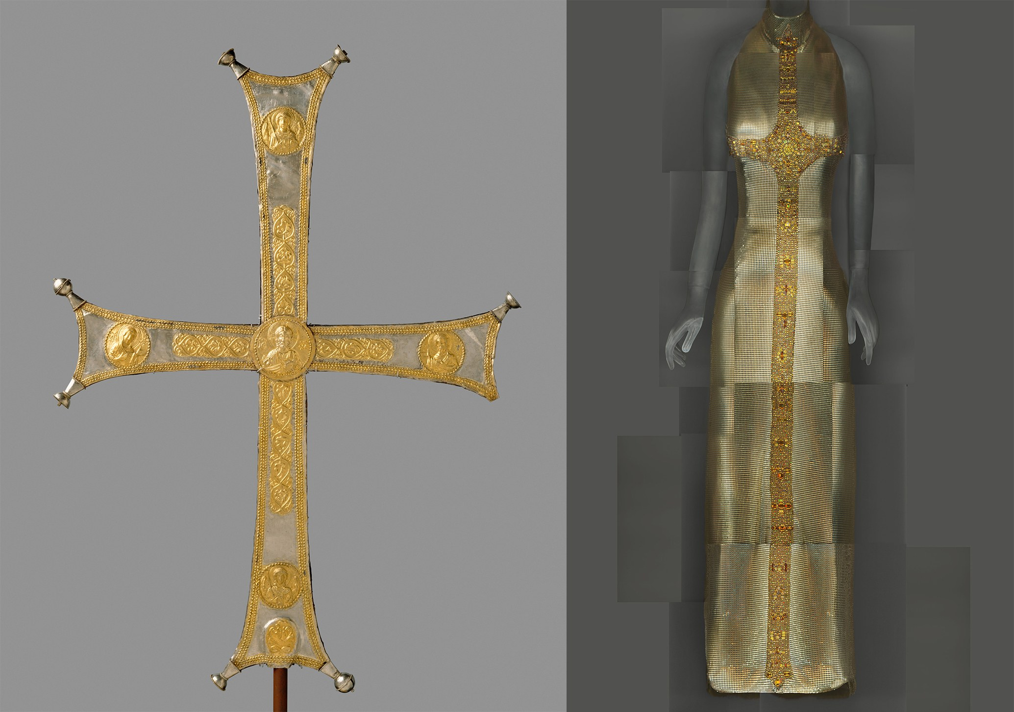 Left: Processional cross, ca. 1000–1050. Byzantine. // Right: Gianni Versace evening dress, autumn/winter 1997–98