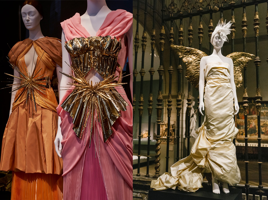 Left: Gold metallic silk satin trimmed with beige feathers, embroidered gold metal paillettes, wire, beads, and gold metallic ribbon; Rodarte; 2011. // Right: Ivory silk taffeta and gold-painted feathers; Mugler, 1984.