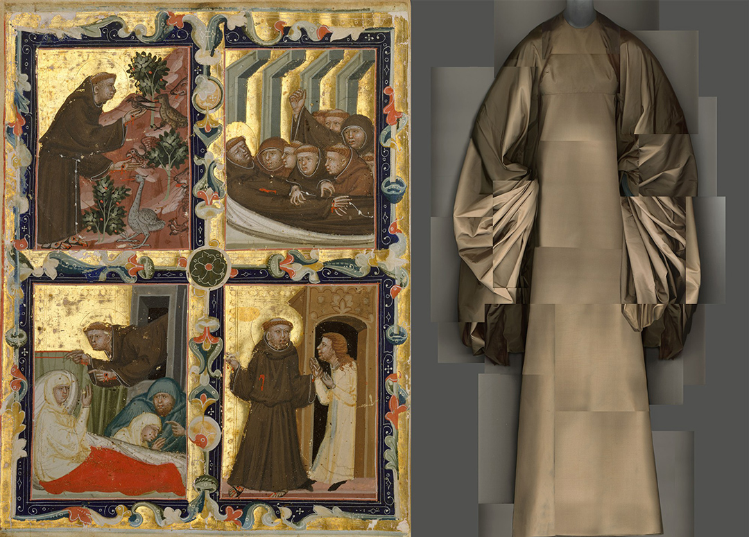 Left:  Manuscript Leaf With Scenes From the Life of Saint Francis of Assisi; 1320. // Right: taffeta evening dress; Madame Grés; 1969.