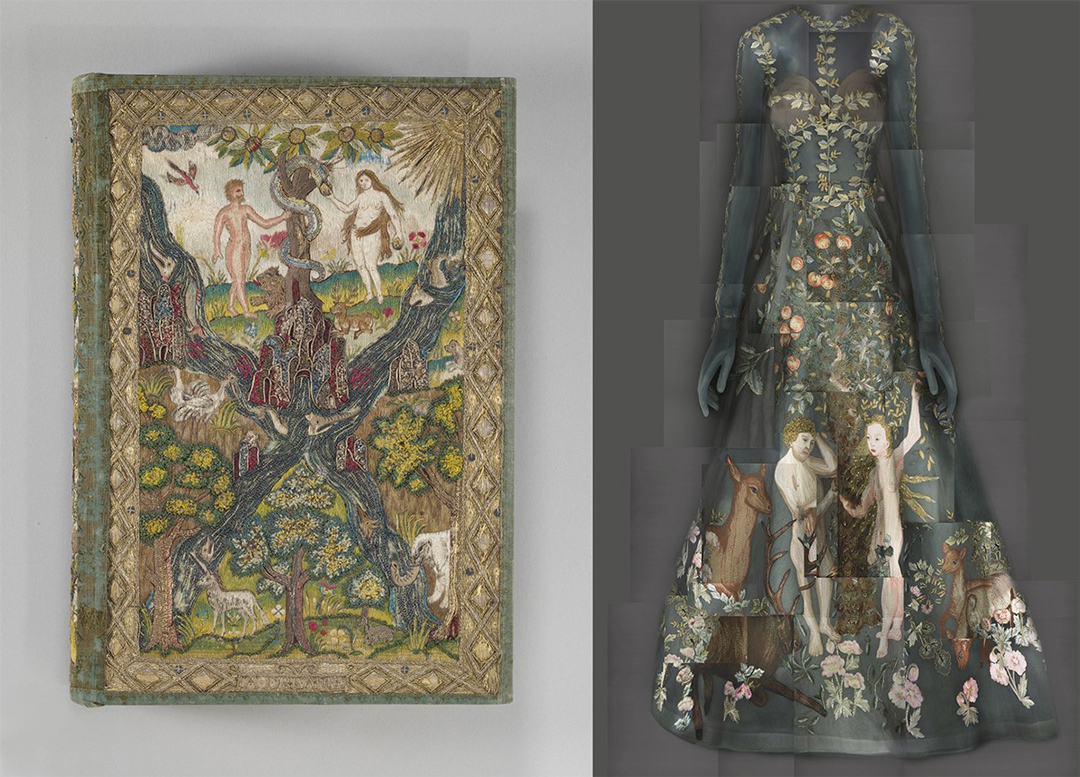 Left: Bible and Book of Common Prayer, British, c. 1607, silk and metal // Right: Maria Grazia Chiuri and Pierpaolo Piccioli for Valentino Spring 2014 haute couture evening dress.