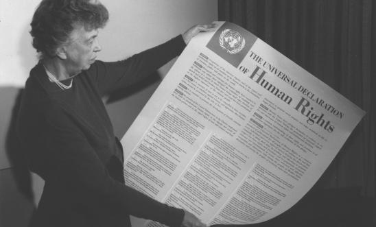 Eleanor Roosevelt holding the Declaration in 1948.