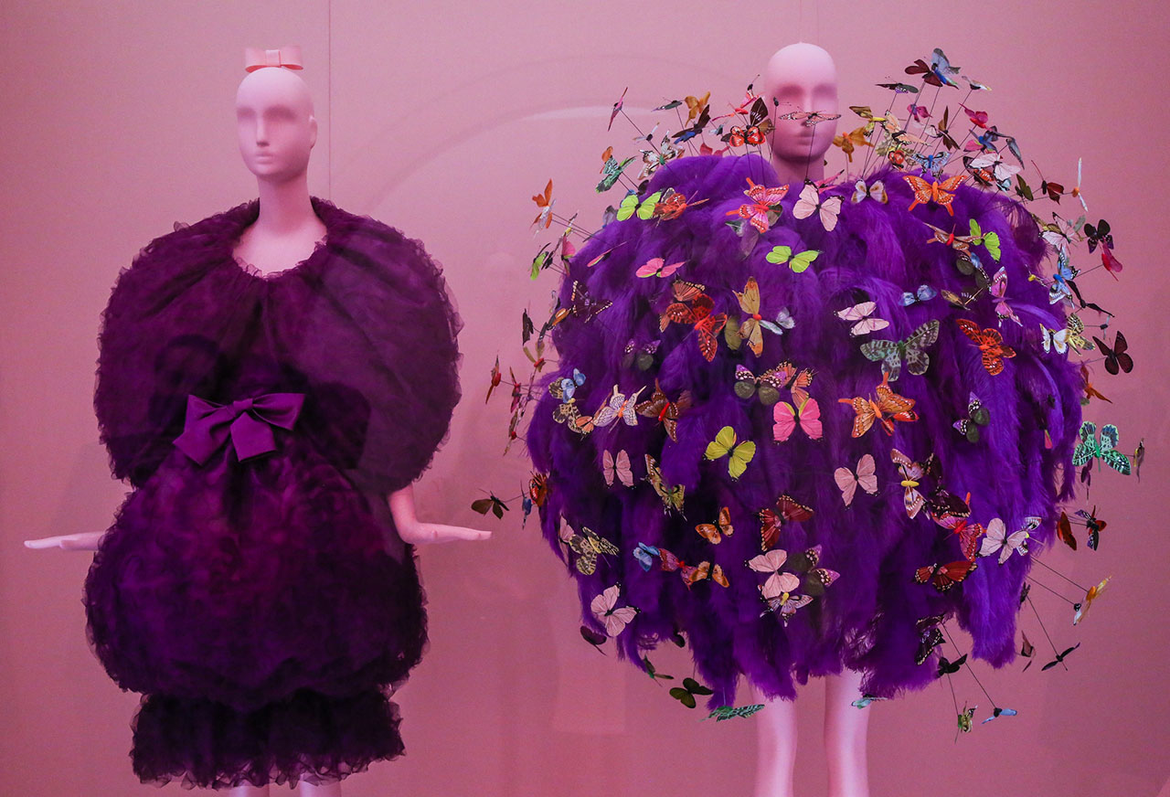 Left, Cristobal Balenciaga, Fall 1965 couture. Right, Jeremy Scott for Moschino, Spring 2018