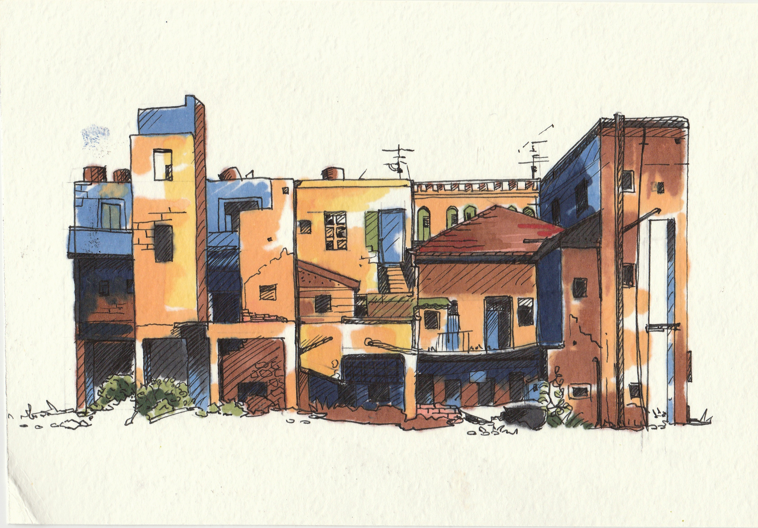 Jerusalem.    Pen and markers on paper. 2013