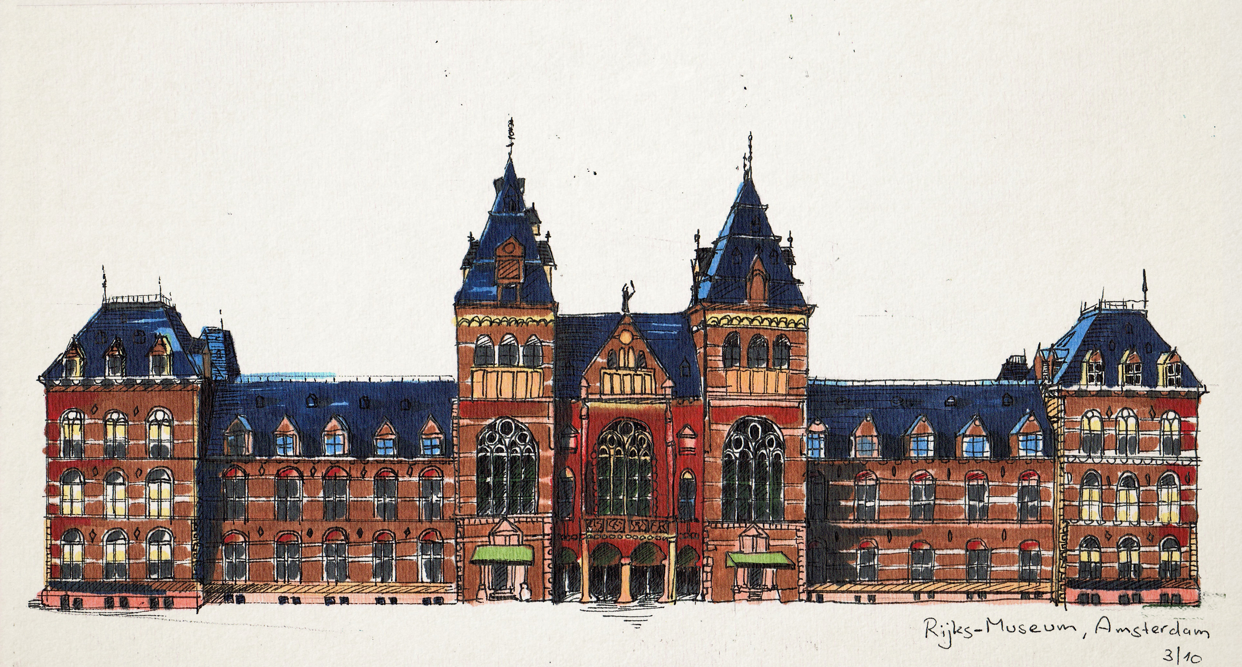 Amsterdam, Rijksmuseum. Pen and Markers on paper. 2013