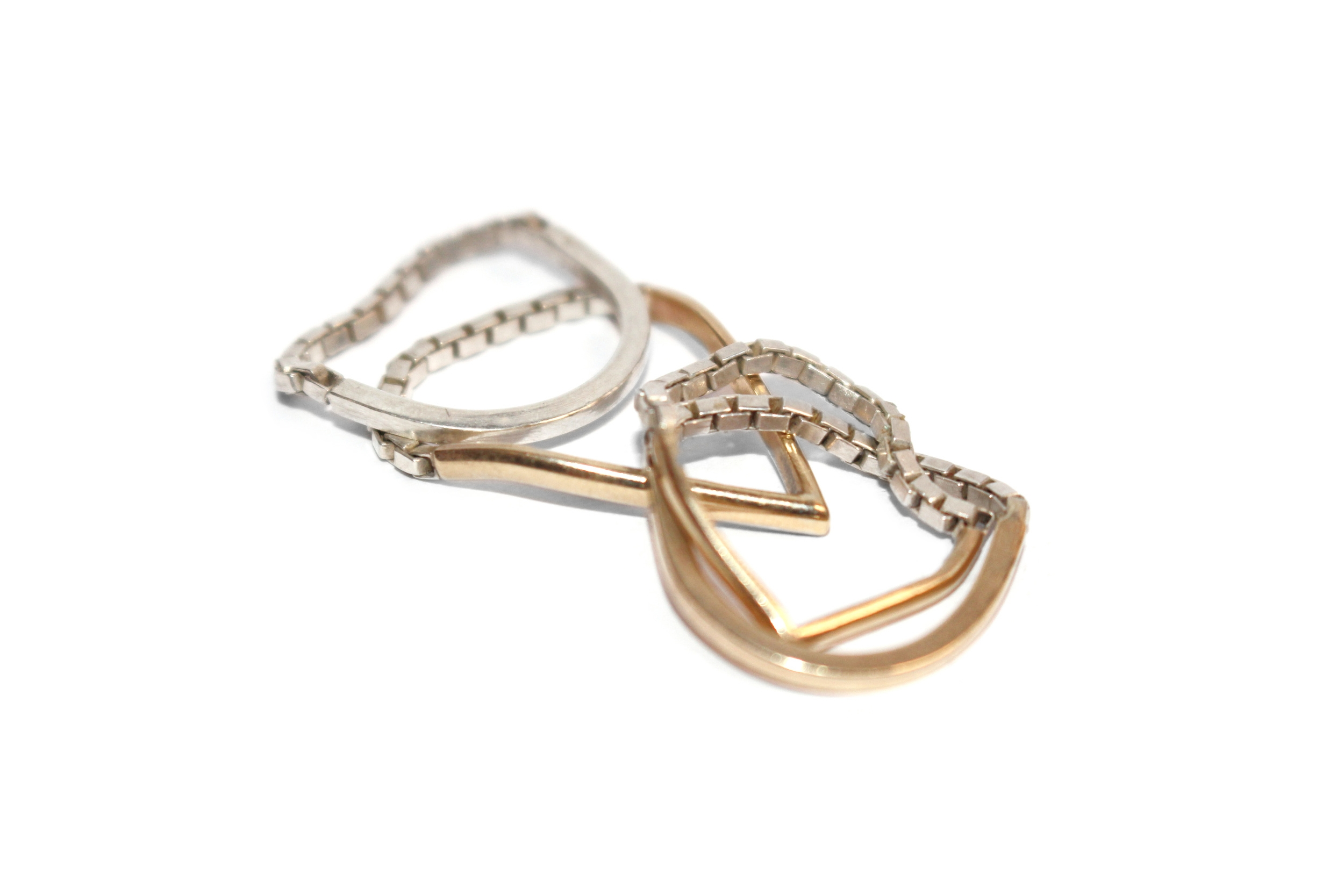 CHAIN RINGS 925 SILVER & 9K YELLOW