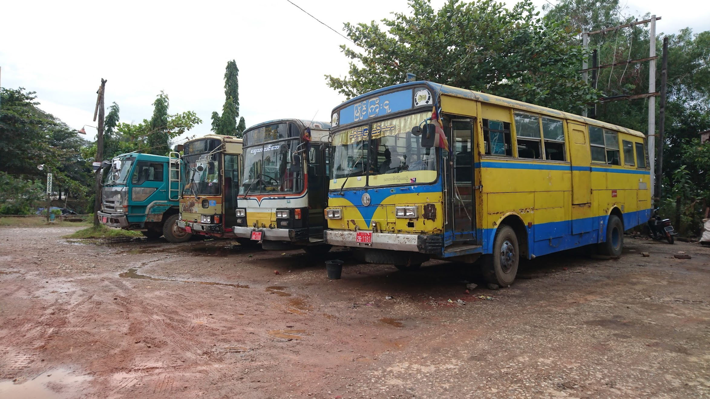 Knackered buses, all hand-me-downs from neighbouring countries, that are still patched up and in daily use.