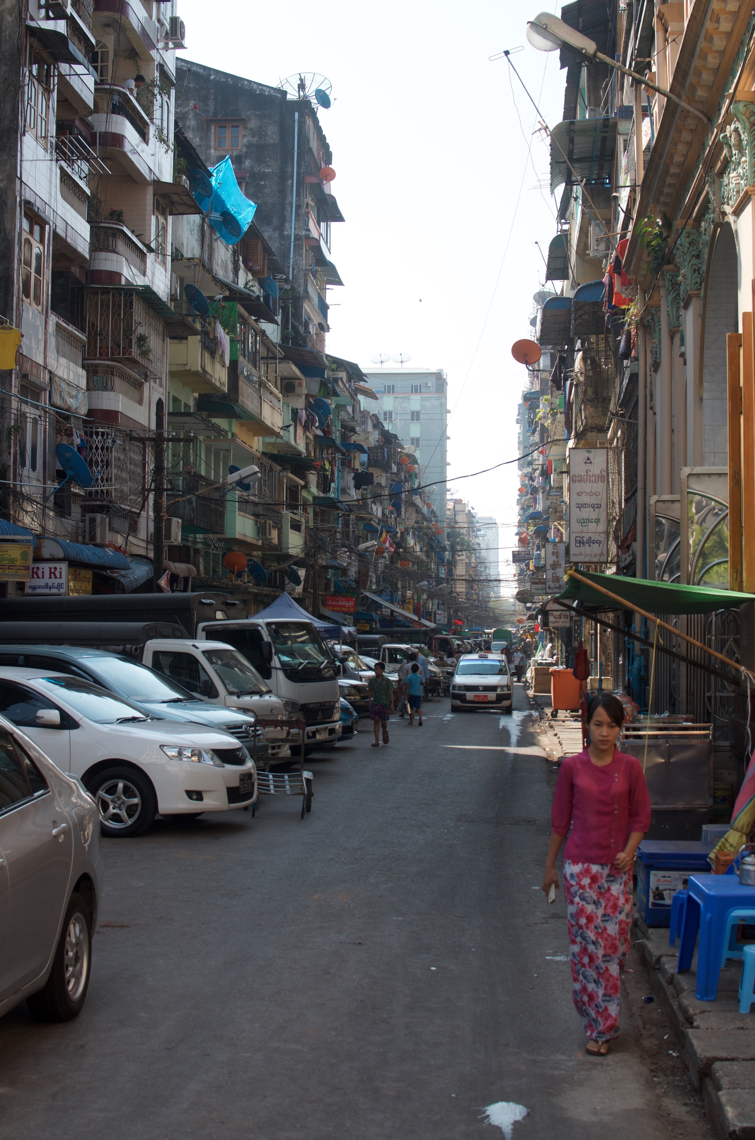 One of the many typical side streets. Packed to the rafters with shops, apartments, and people living on top of each other.