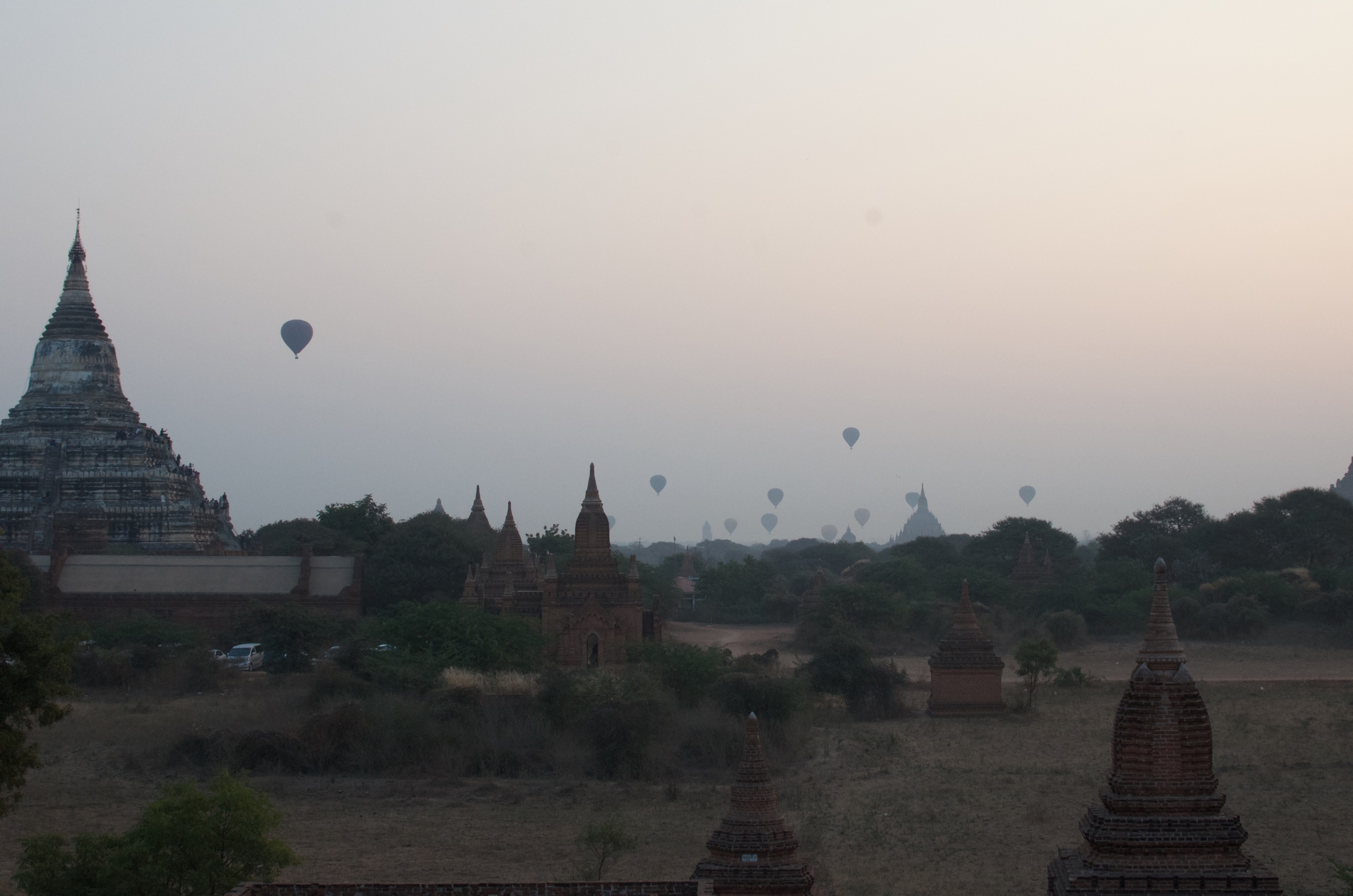 You can pay to ride a balloon over Bagan at sunset. Whilst you can't beat the view, you might not fully enjoy it due to the vomit in your mouth after paying $400 per person for the privilege.