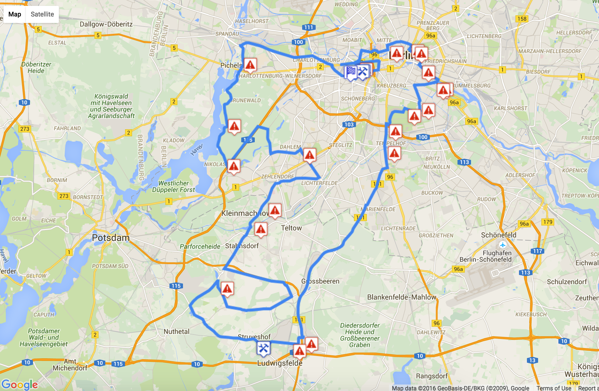 The 120km route