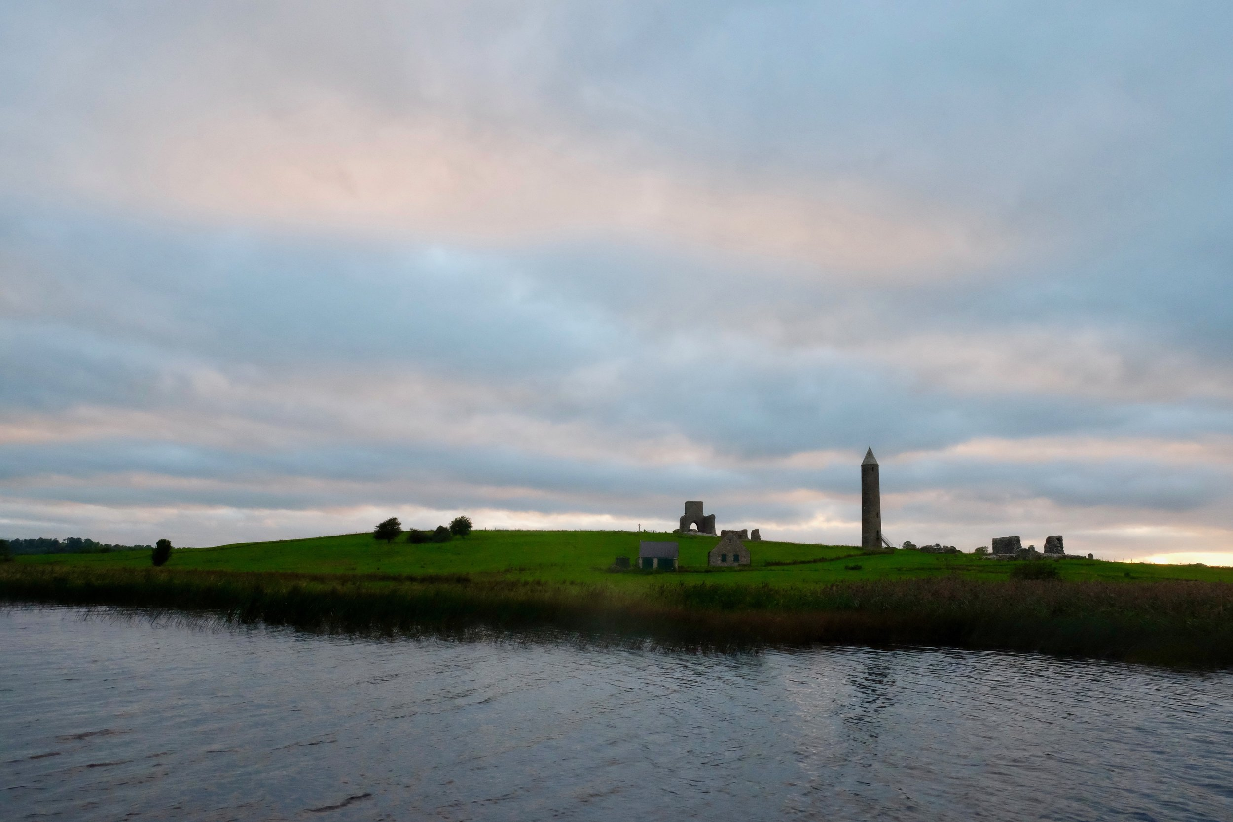 Devenish Island, home to a monastic settlement that was first erected in the sixth century. Now strewn with the ruins of those original buildings, it's a beautiful sight as the sun goes down.