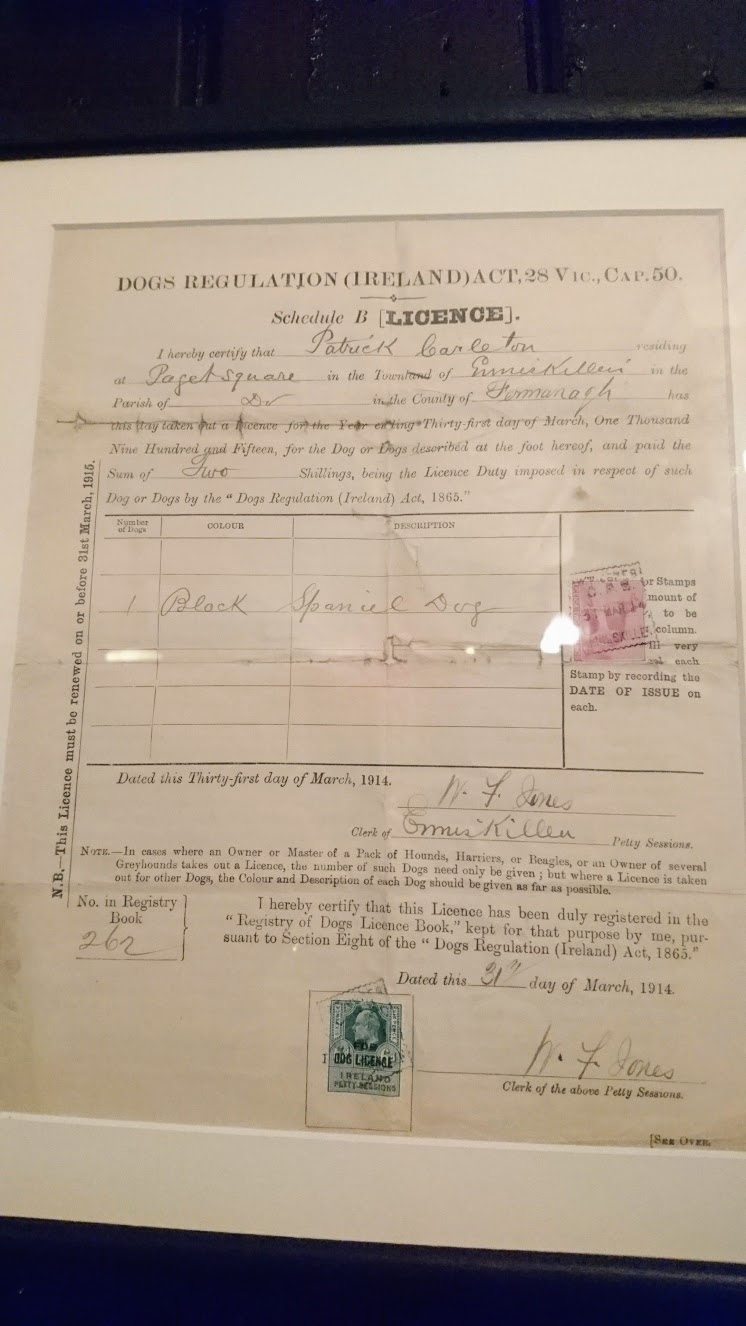 A dog license for the pub from 1915!