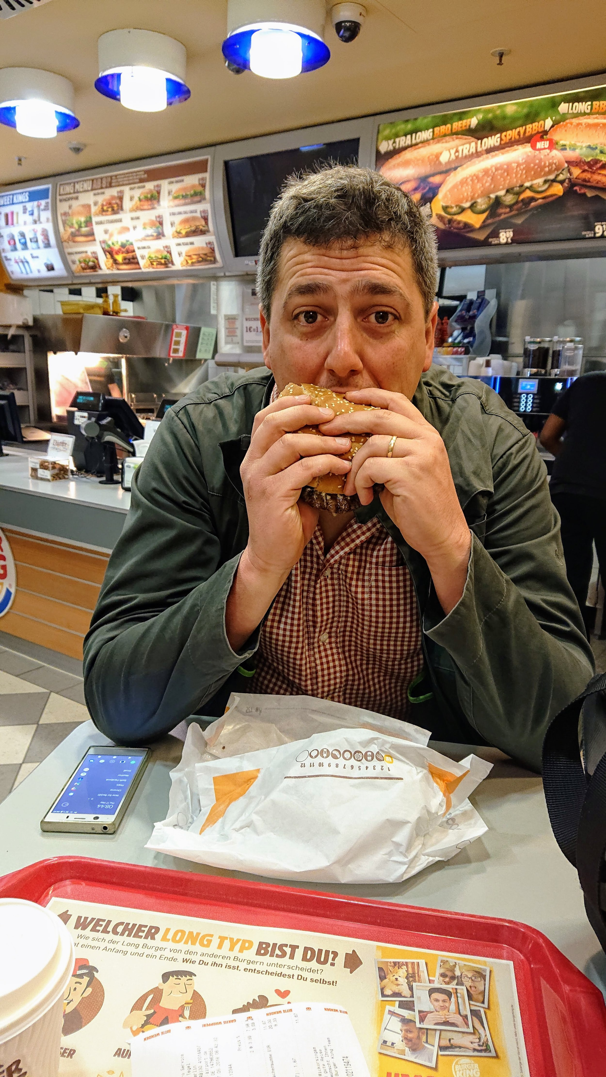 After experiencing such incompetence, the first meal of the honeymoon has to be Burger King's finest. Note the time on Neil's phone. Not our proudest moment, but we won't be apologising for it either.