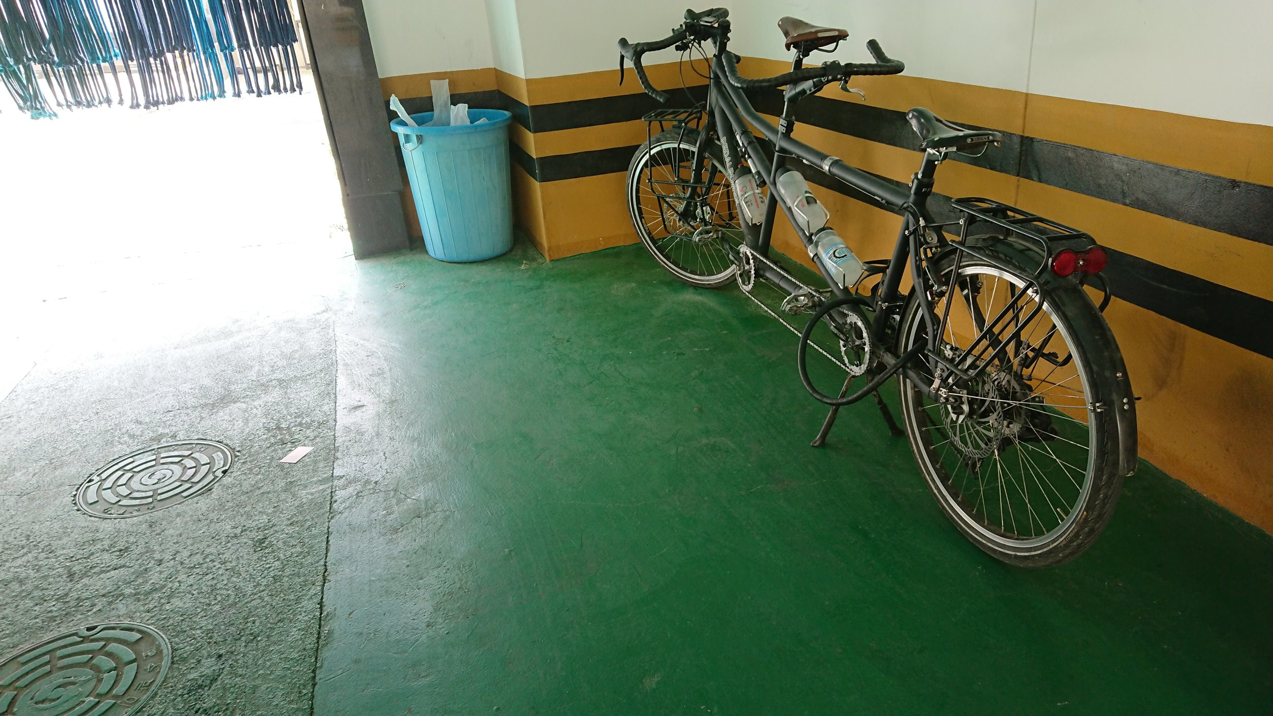 You can leave your bike in the covered parking garage directly underneath the motel for free.