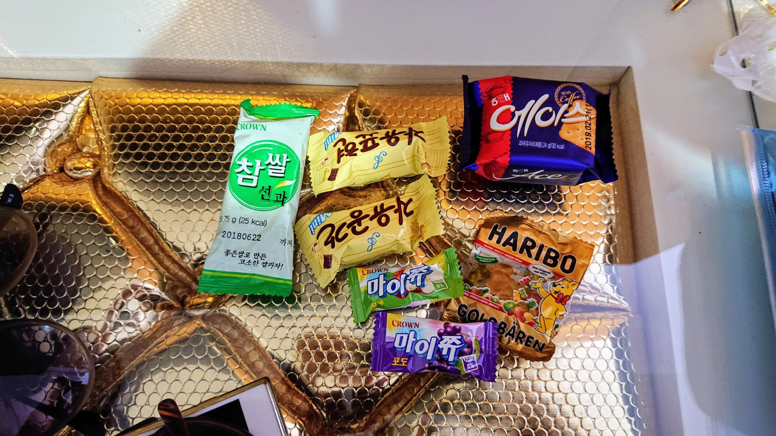 The toiletries bag in this hotel came with Korean snacks!