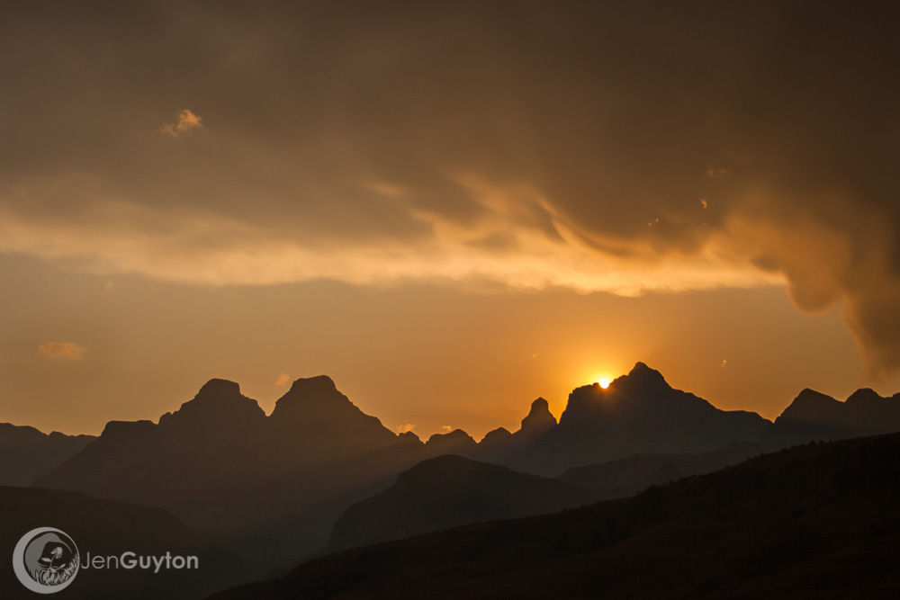 The sun sets over Cathedral peak.