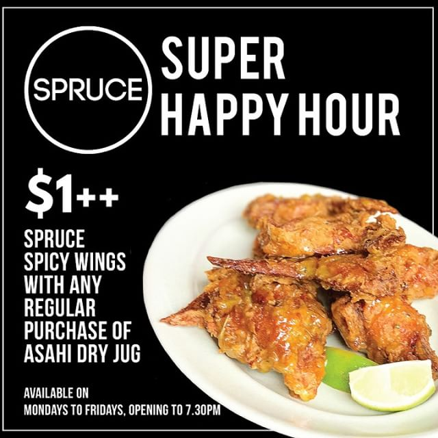 The end of the day is waiting. Forget about your Monday Blues, kick back, and relax with us here at Spruce! Get your favorite Spruce Spicy Wings at just $1 with any purchase of a Asahi Super Dry Jug!  #sprucesg #hungry  #upperbukittimah #Spruce #oldfirestation #acousticcover #musiclovers  #musiclive #sgmusic #liveband #livemusic #singapore #goodfood #chillvibes #coldbeer #beer #weekend #goodfood #TGIF #foodies #hungry #musiclover #livemusiclover #chickenwings #asahi #asahiSuperDry #chicken #wings
