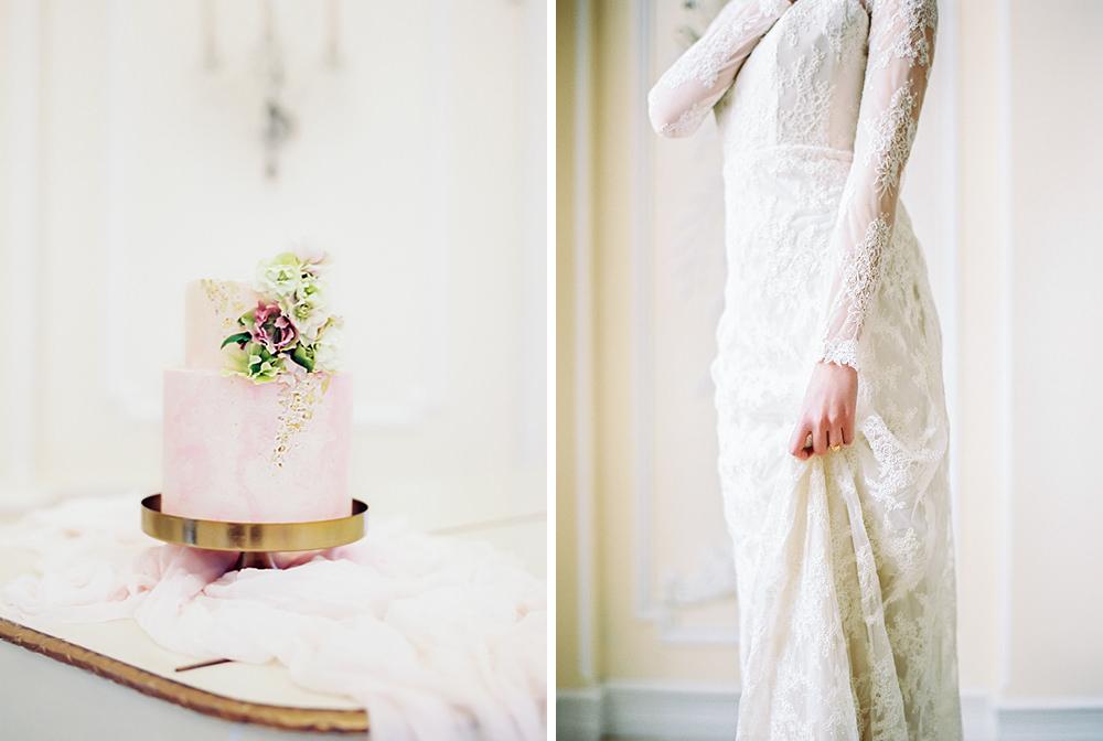 elegant wedding cake and dress detail