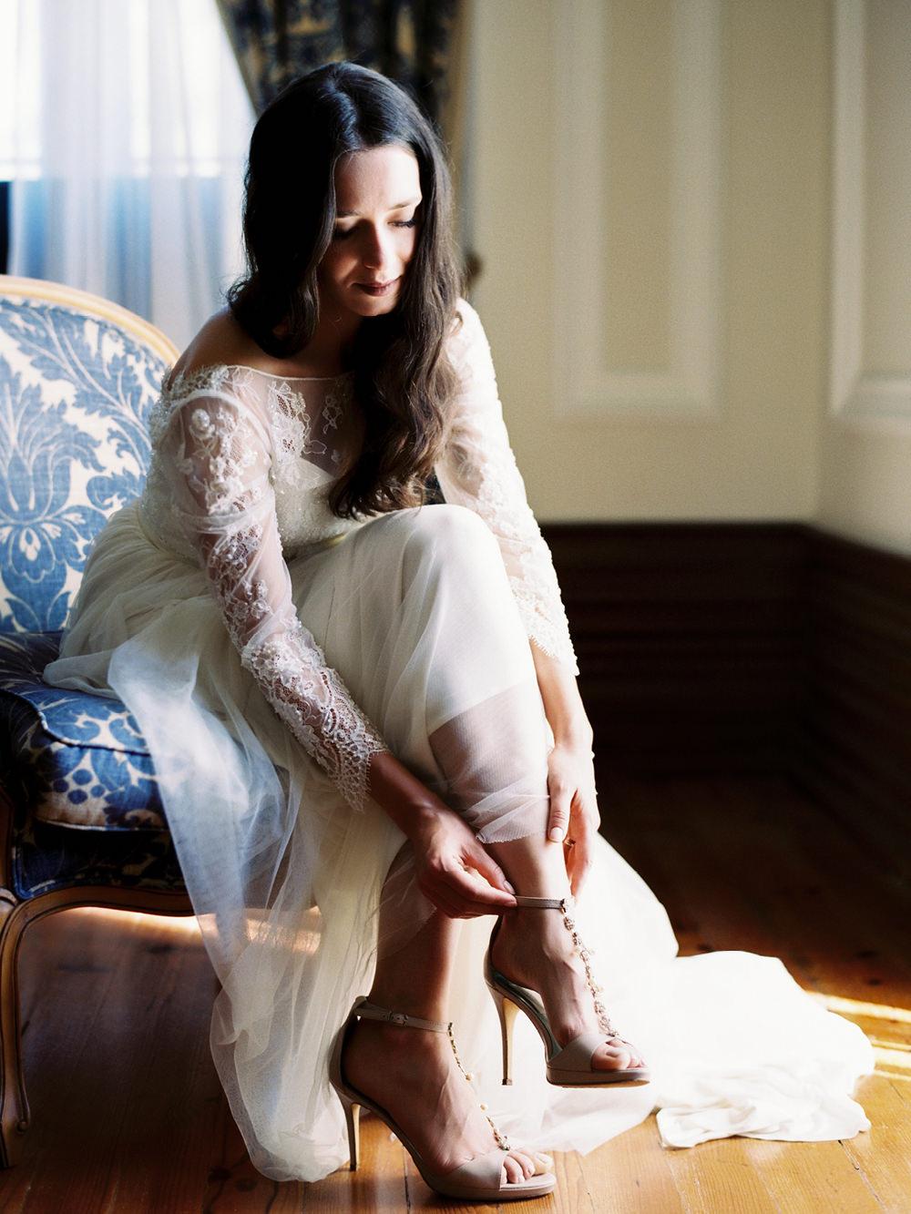 film wedding photography bride shoes
