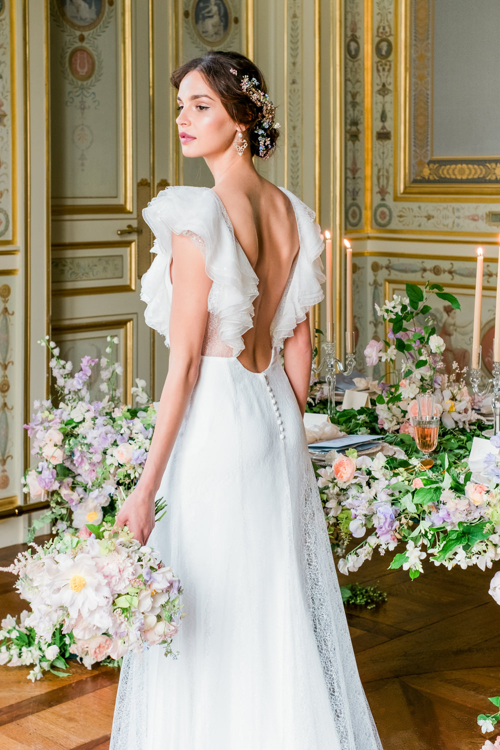 Classy and Elegant Wedding Inspiration Bride Portrait in Paris at Greg Finck Workshop with Rime Arodaky Wedding Dress and tablescape by Joy Proctor