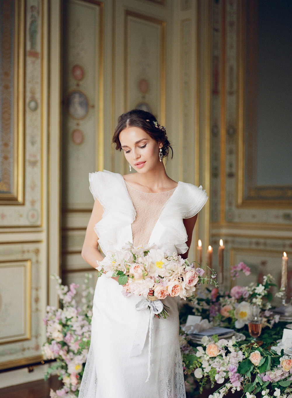 Classy and Elegant Wedding Inspiration Bride Portrait in Paris at Greg Finck Workshop with Rime Arodaky Wedding Dress