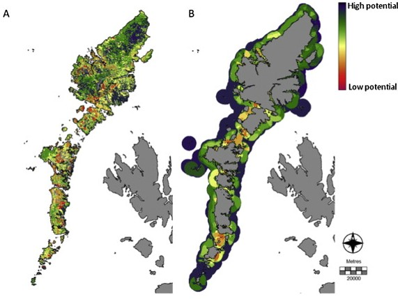 Spatial models to assess the potential for aquaculture based on visual impact. The models show potential for a) ancillary land based structures and b) marine cages (Falconer et al., 2013).