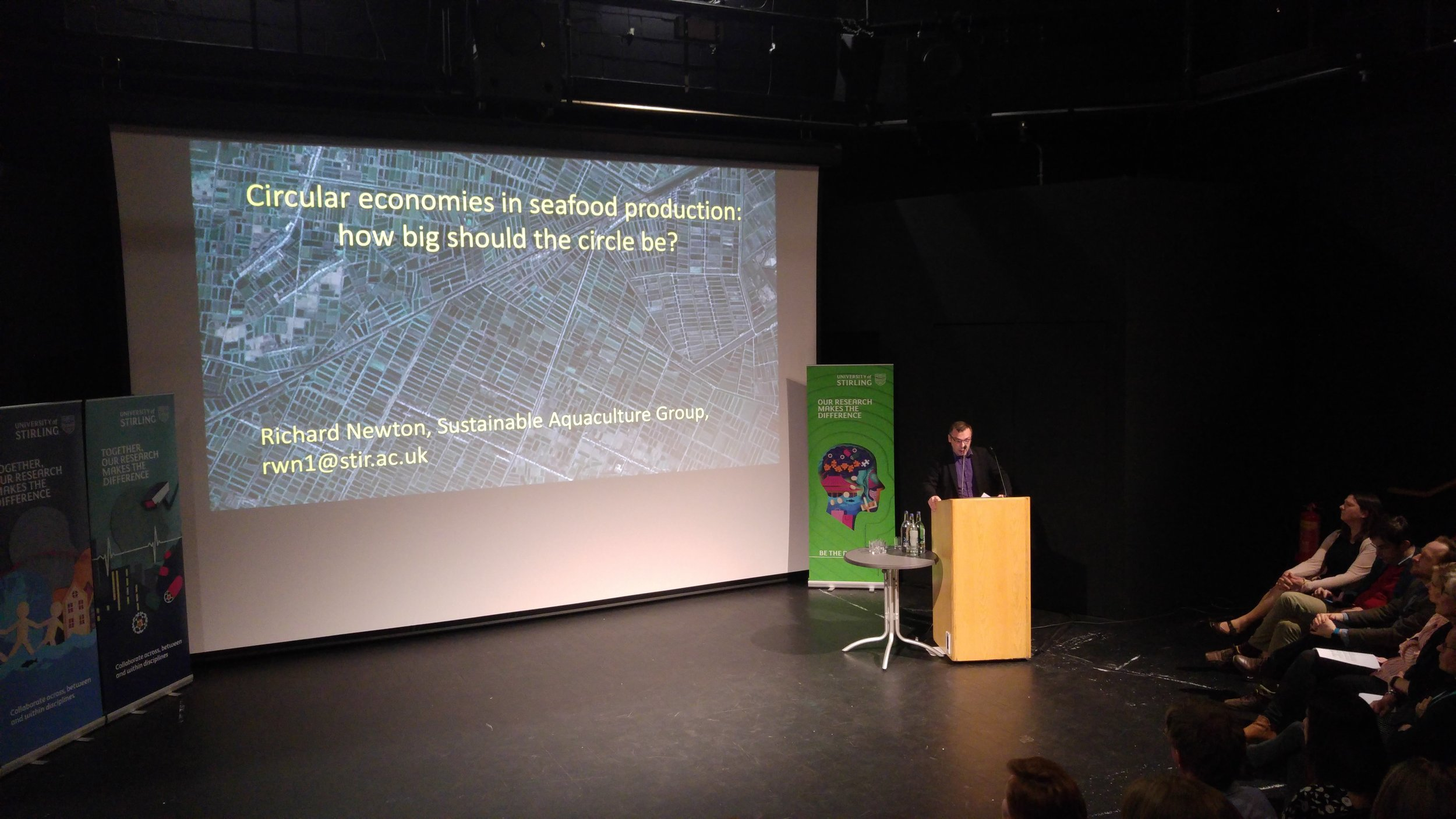 Richard Newton presenting on circular economies in seafood production