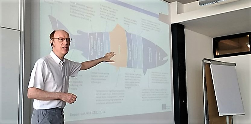 John Bostock presenting the salmon value chain