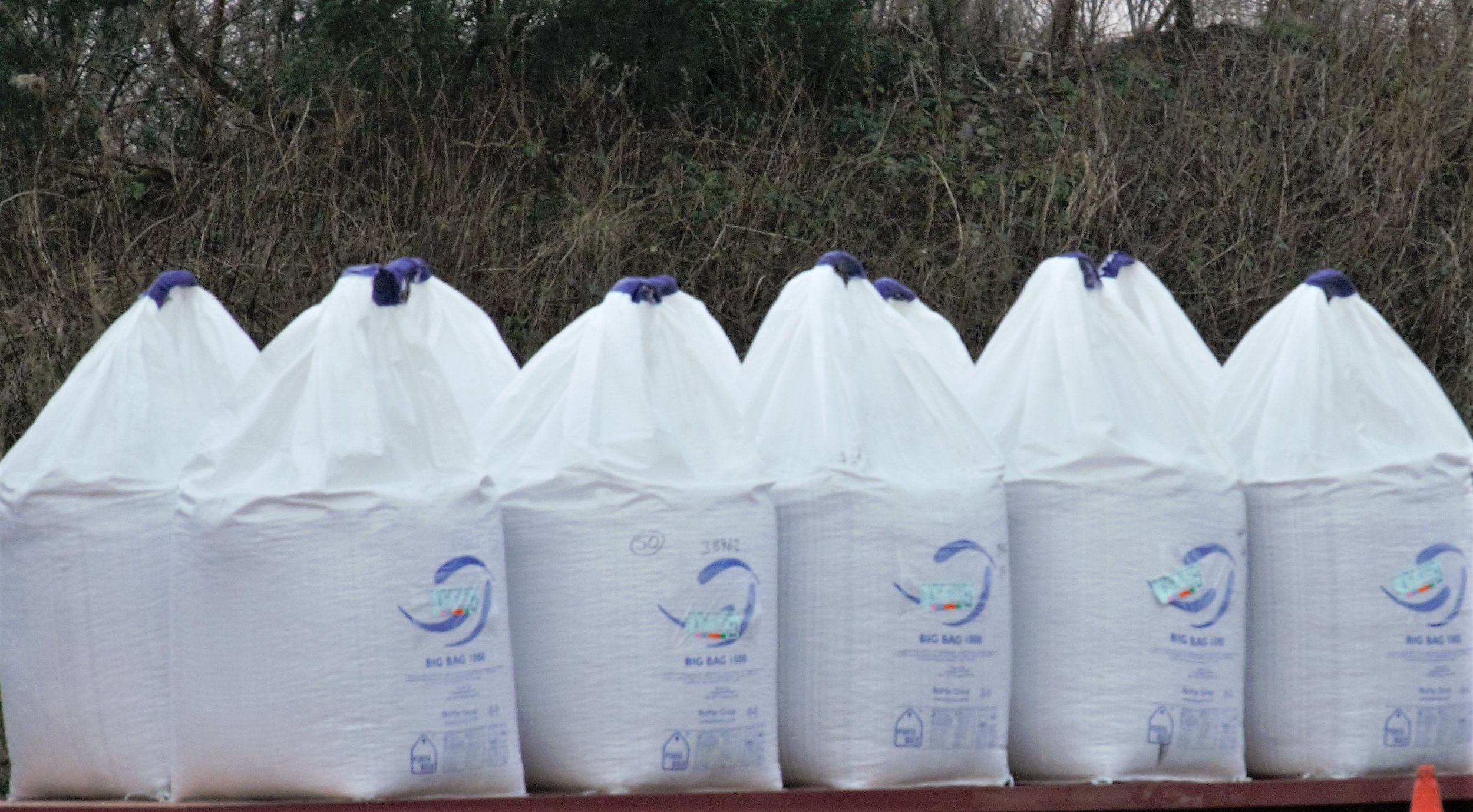 Salmon feed bags ready for transport to cages