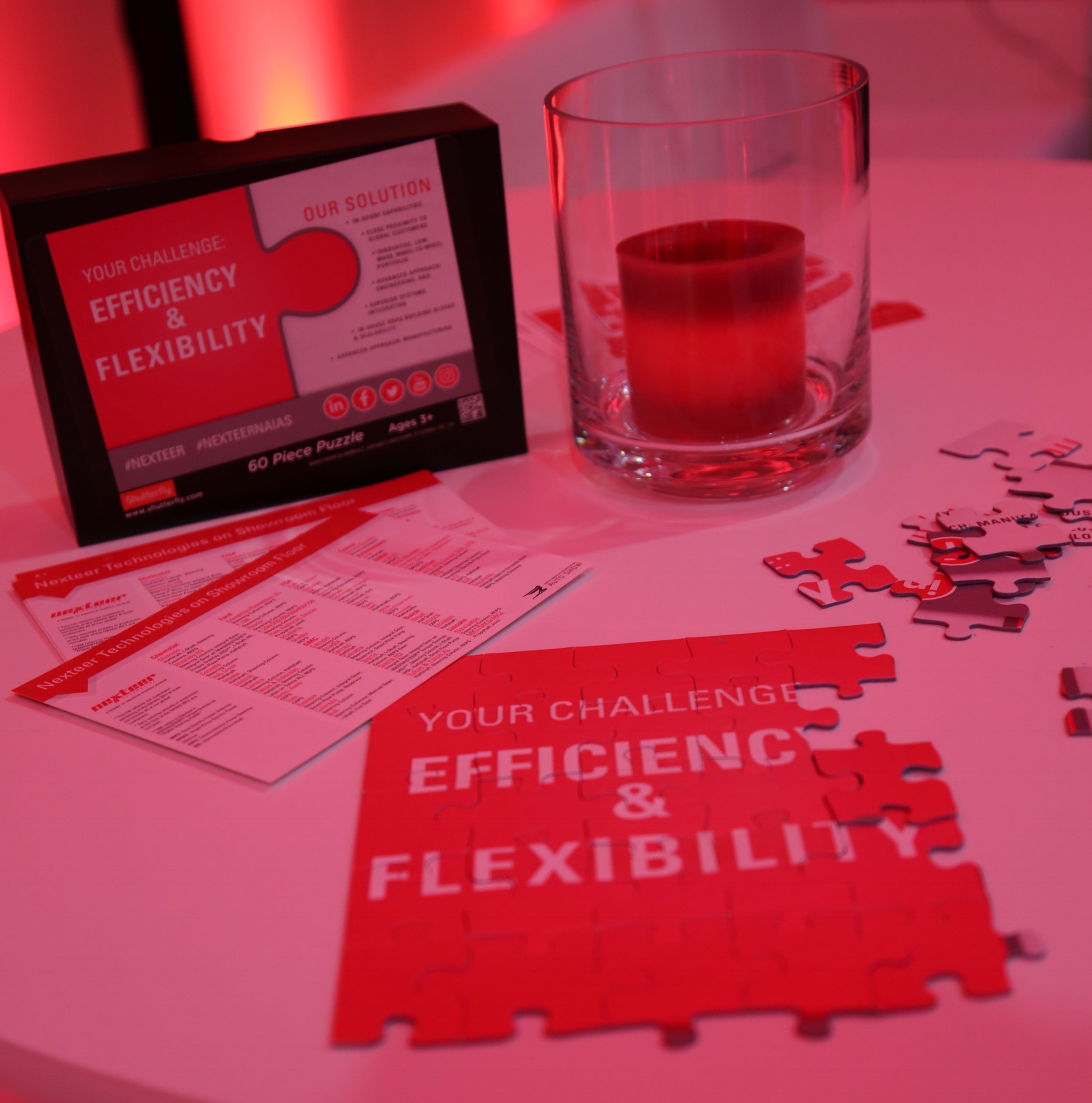 Nexteer Solution Station puzzles in hospitality suite