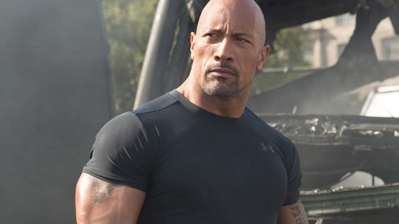 Extreme close-up of Dwayne's fashion face