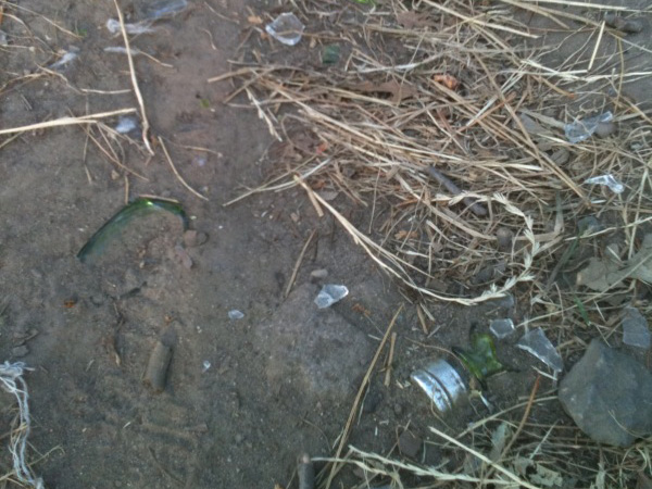 The broken glass that was commonly found along the running trail in Fort Greene Park, Brooklyn.