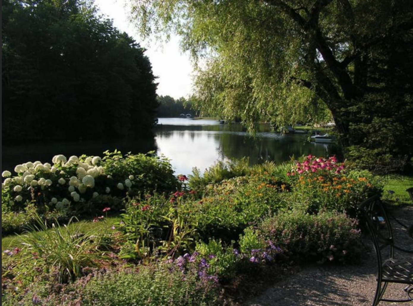the relaxing garden by the river