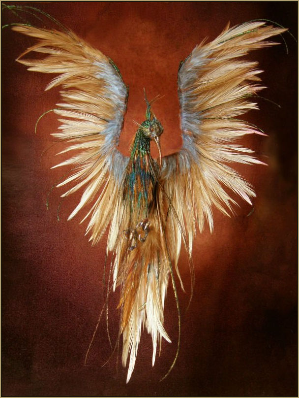 Scale: 1:12th    Medium: Polymer clay & hand painted feathers and wire feet.    Dimensions: 17.5cm including tail and head crest    18.5cm including wingspan    2010      Design Anya Stone