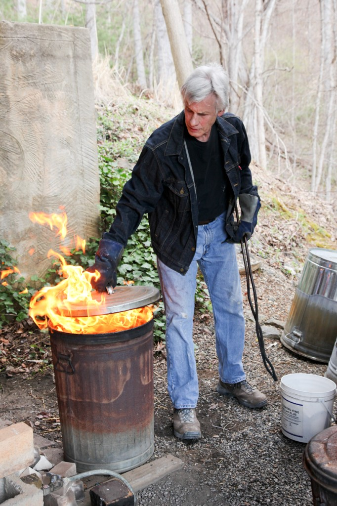 Raku pottery firing by Steven Forbes-deSoule | Weaverville, NC