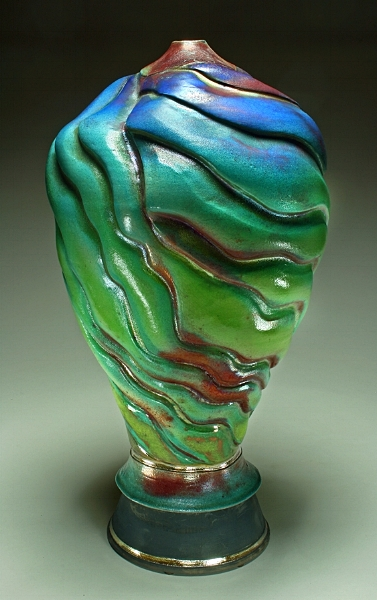 Raku Pottery - Tall Ripple Blue Green Vase