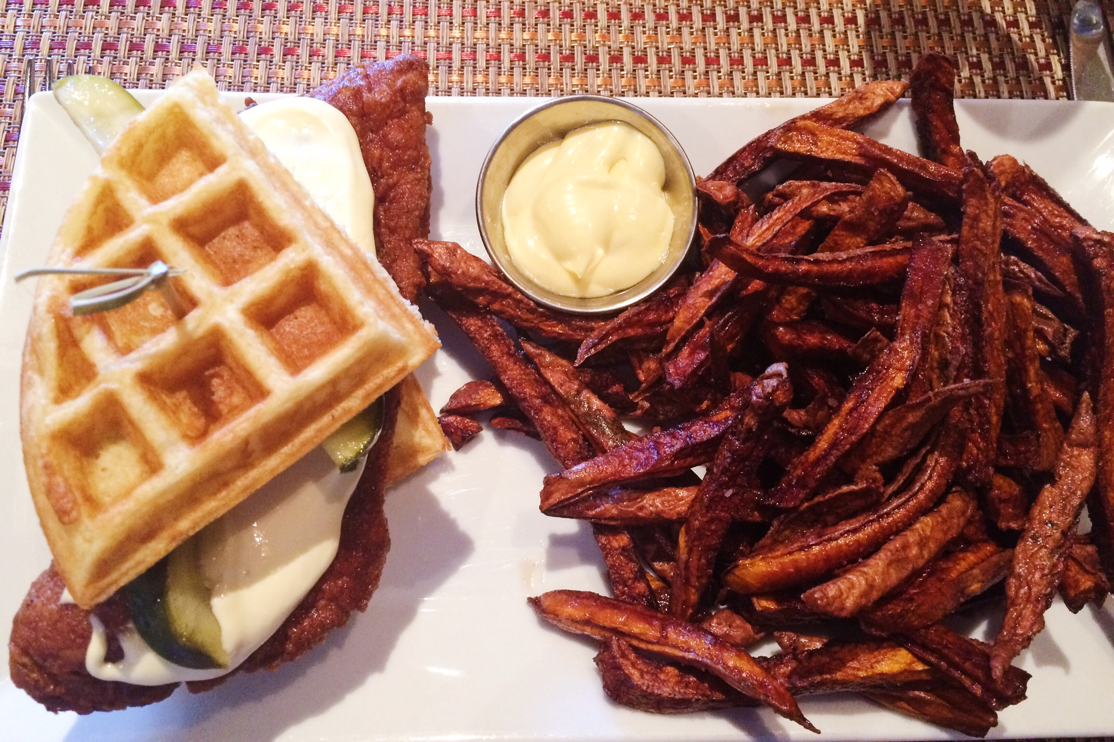 Aussie and the Fox Chicken and Waffles