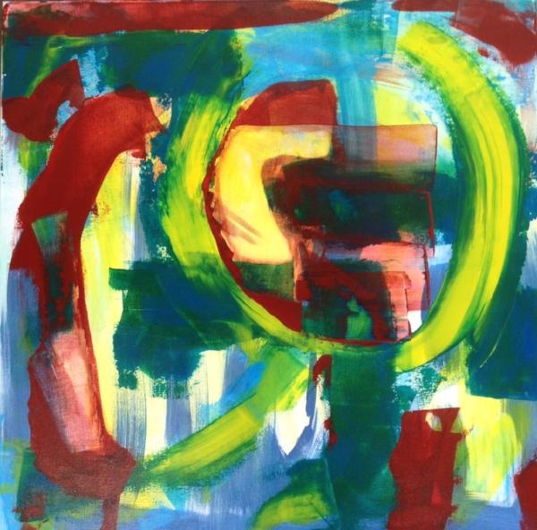 "Abstract 2 , acrylic on canvas, 30″ x 30"", 2015"