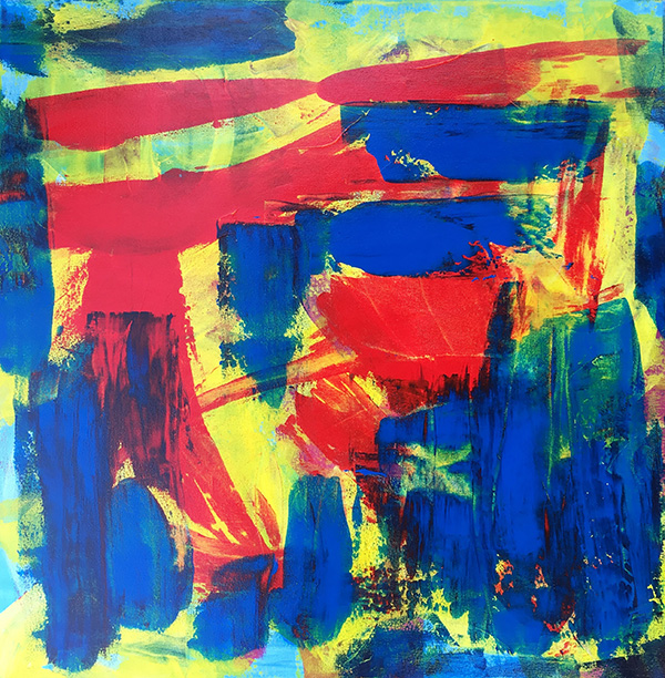 "Abstract 1 , acrylic on canvas, 30″ x 30"", 2015"