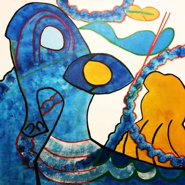 "Blue Eye , acrylic and chalk on canvas, 58"" x 58"", 2018"