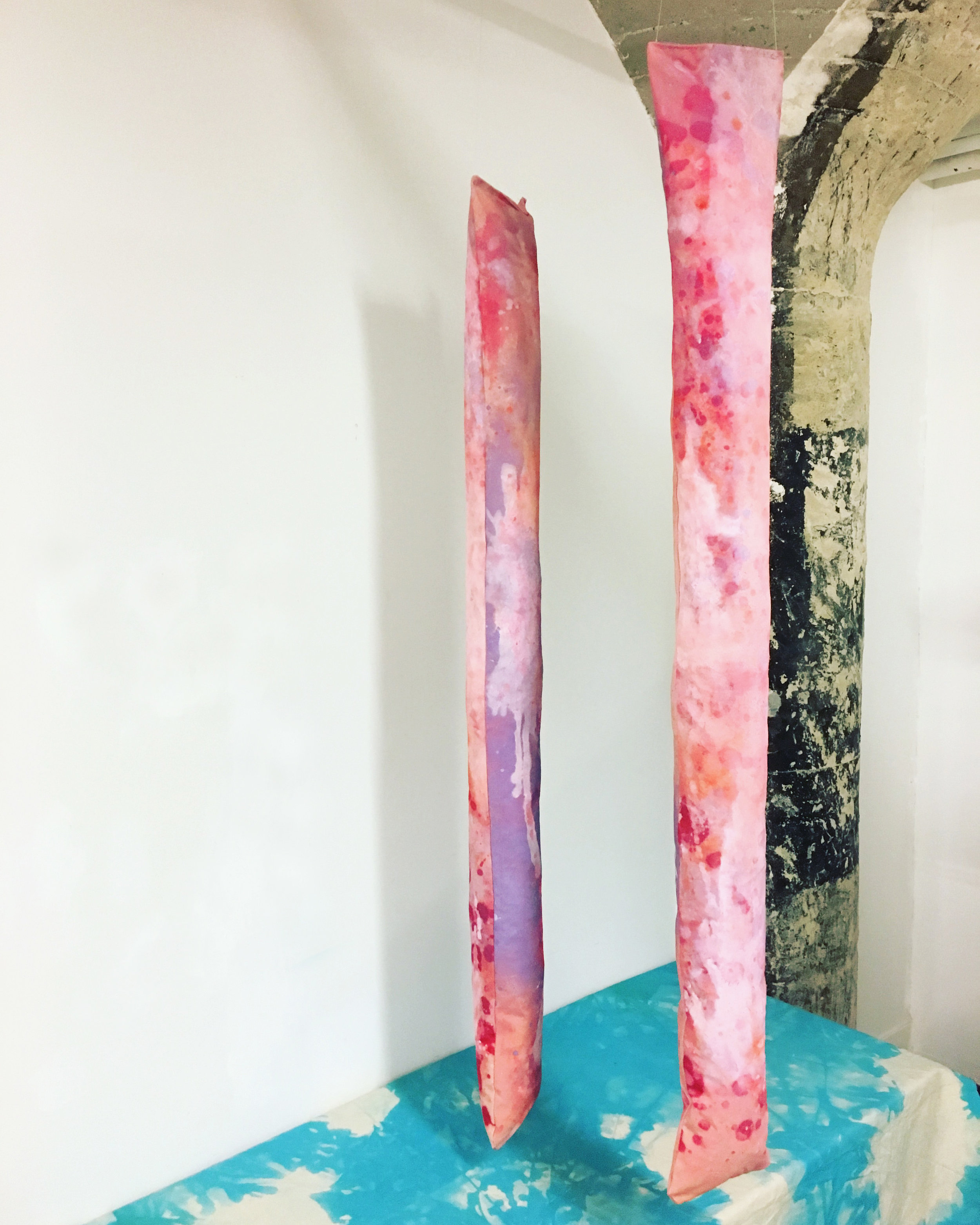 "Pillars,  acrylic, dye, spray paint, polyfil, and canvas, 6"" x 72"", 2019"