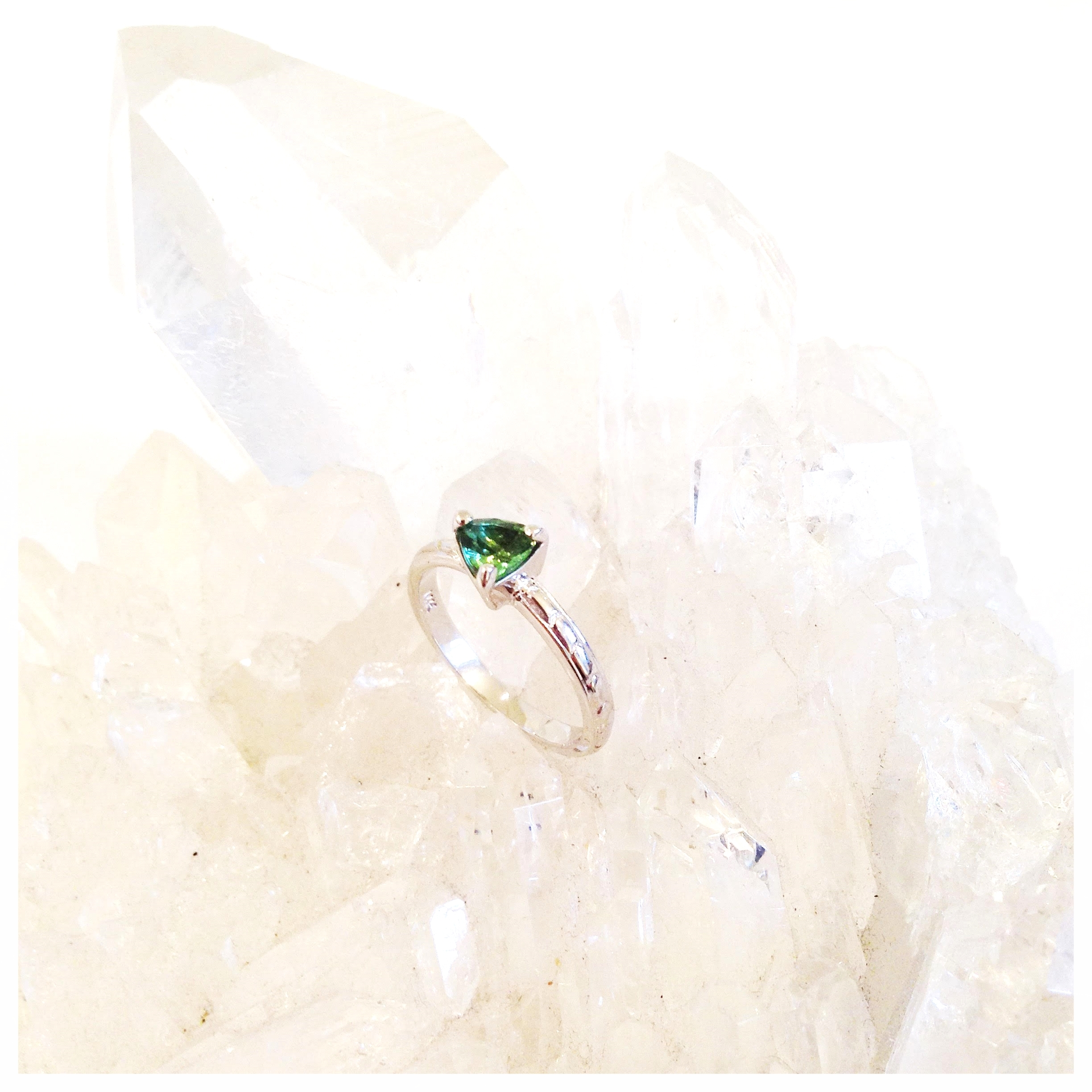Tourmaline and 14k white gold custom engagement ring (2015)
